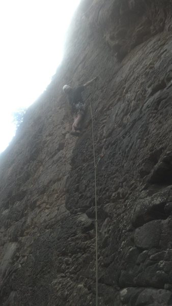 GB on an early ascent of Full Curl.  A crappy Droid camera makes everything look like Ben Nevis.