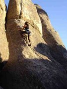 Rock Climbing Photo: Jackie Trejo coming into the crux and tricky slab.