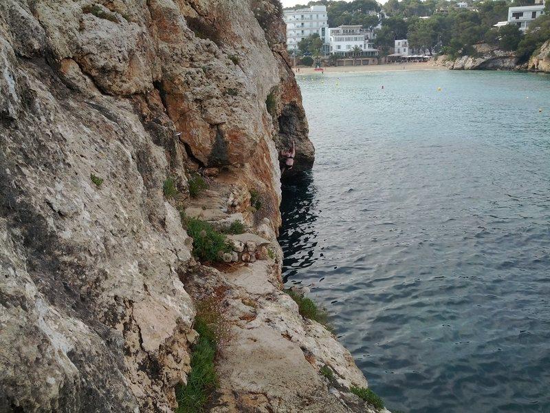 Rock Climbing Photo: climbing at the cave at Cala Santanyi