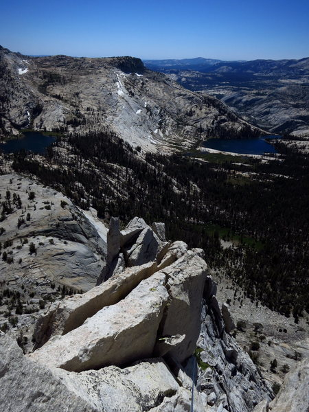 Cathedral Lakes from the summit ridge of Eichorn's. <br> <br> Photo: Corey Gargano