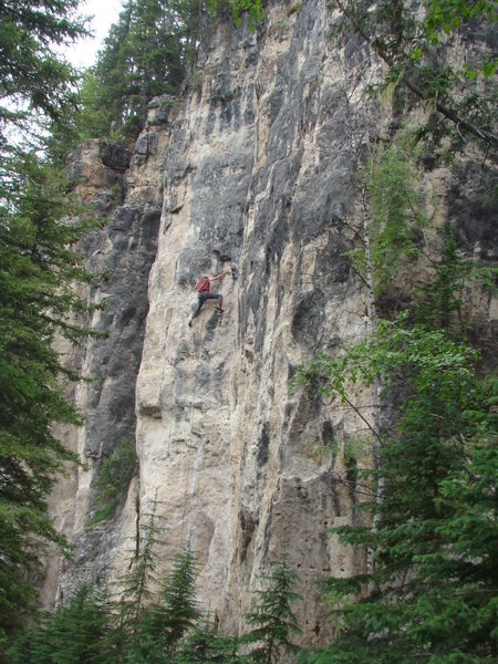 Reggie on Black Hole, 5.12a<br> <br> The Darkside Wall. The Dark Side.<br> Spearfish Canyon, SD.