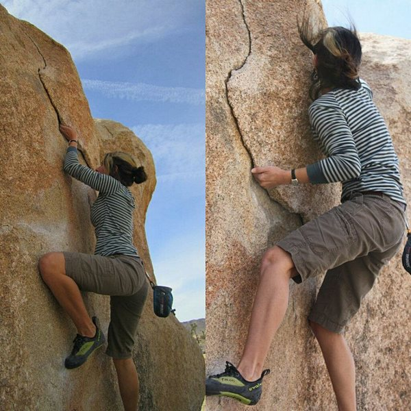 Coming into the crux of the problem. (Climber Jackie Trejo)
