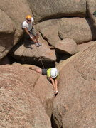 Rock Climbing Photo: Izak getting a hand/fist stack.  How many 11 year ...