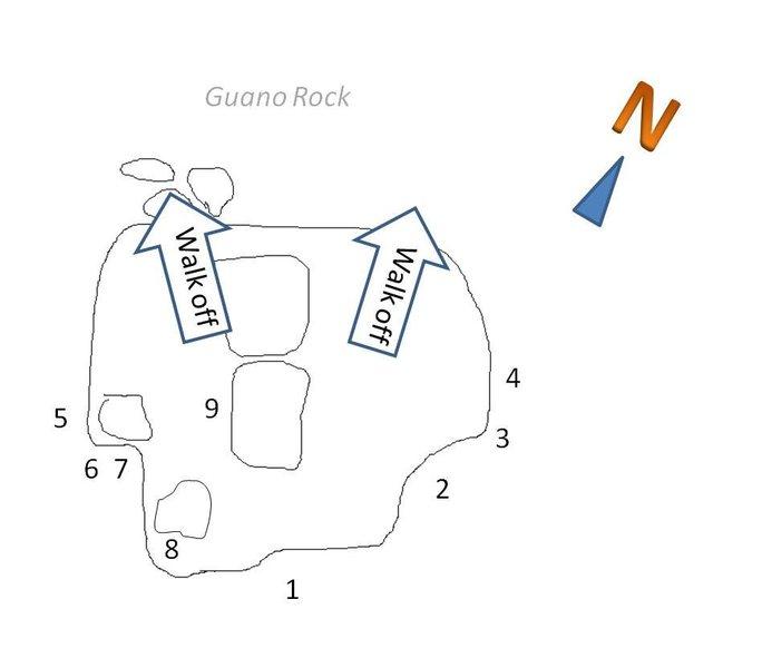 Rock Climbing Photo: Topo of Guano Rock.