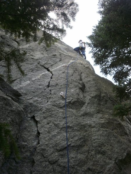 High on the arete.
