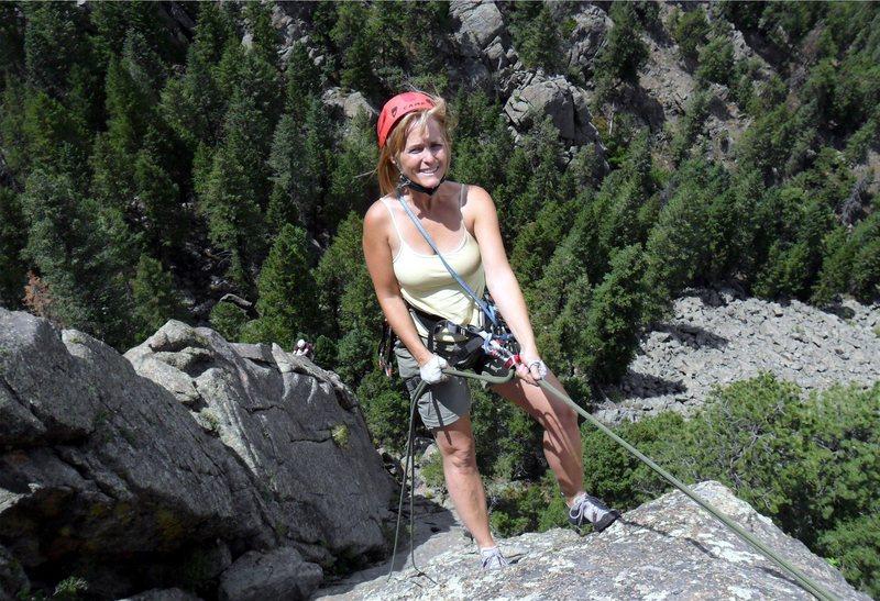 Rock Climbing Photo: Brenda rappels Hollow Man with a climber on Handcr...