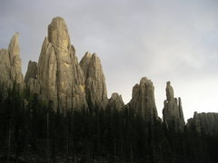 The spires with a storm brewing