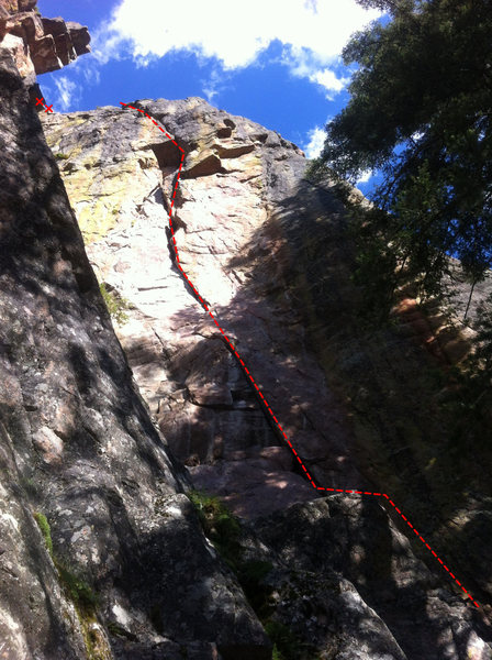 Rock Climbing Photo: Topo for Diesel Driver.  Anchors are to the left w...