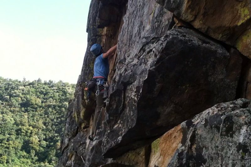 Rock Climbing Photo: Climber halfway up Timber Tantrum, jumped right ba...