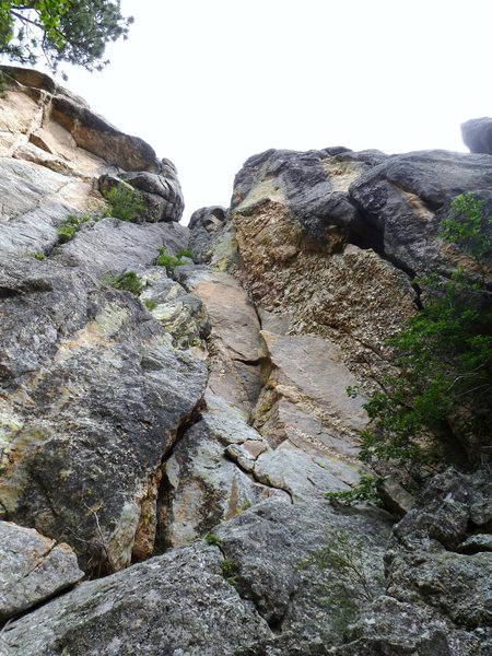 Susi's Garden: New route in White House Wall, in Emancipation Rockphormation area in Mount Rushmore, SD. Opened Summer 2011, 5.8 A2