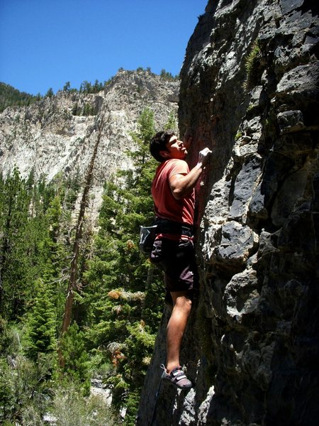 Leading the 5.10 on walla wall,mt.charleston