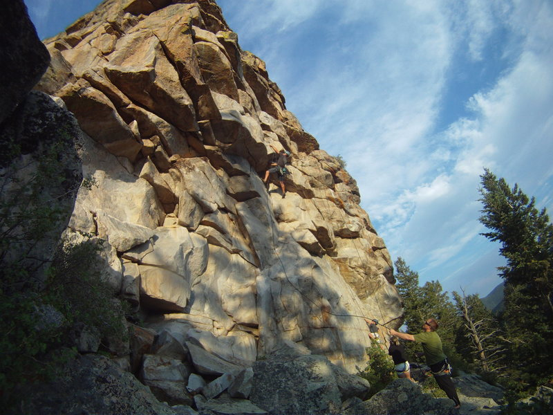 Rock Climbing Photo: Dude's Dihedral crux moves begin at this roof.
