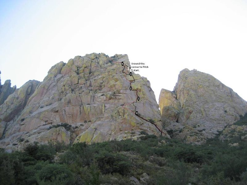 Rock Climbing Photo: Rough estimate of WFC variation route. P4 is the m...