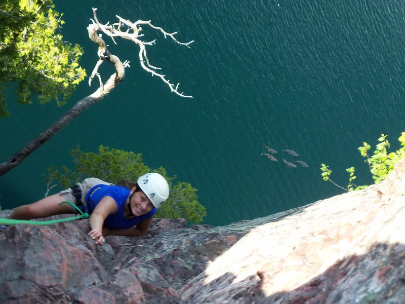 Rock Climbing Photo: Climbing shovel point over Lake Superior with fish...