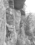 "Rock Climbing Photo: Mid crux on ""Push"""