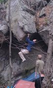 Rock Climbing Photo: Pete campusing out of necessity on the Bloody Hatc...
