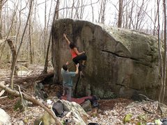 Rock Climbing Photo: Aubree on an early ascent of White Lightning V2.