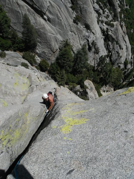 "Rob Beno following P3 to the top of ""The Pedestal"" on the South Face."