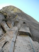 Rock Climbing Photo: Rob Beno leading P1 of Silver Threads. The left-le...