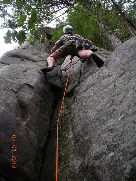 Rock Climbing Photo: Steve Z. leads onsight the 5.8 ish right hand star...