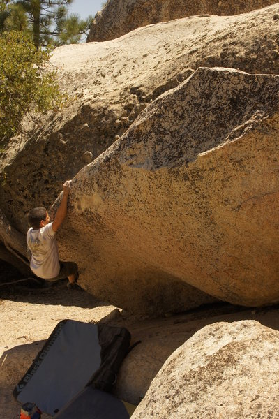 Rock Climbing Photo: pulling the first move to crimp