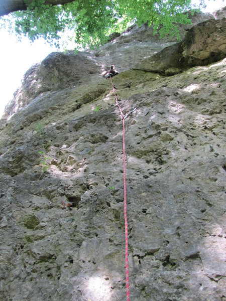 Fanny at the beginning of the crux.