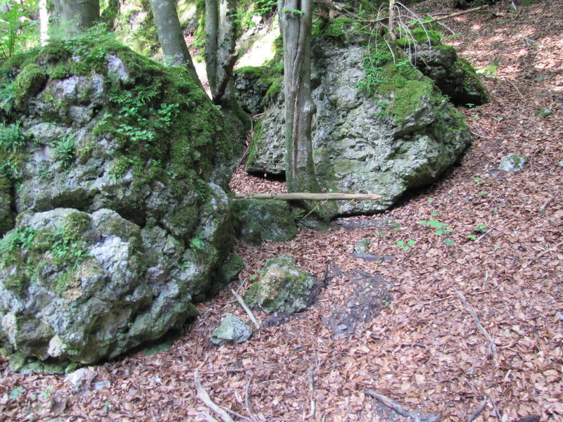 The path to the Hanfplantage is through these boulders.