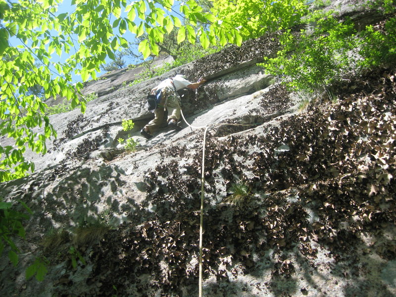 The start of Midnight Special during the onsight FA in 2008. The route is now clean!