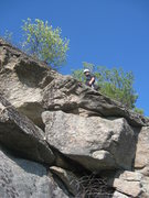 Rock Climbing Photo: Shane Soucy on the rarely done P2 during the FA.