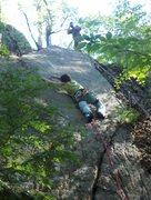 Rock Climbing Photo: Jonathan clipping the first bolt