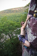 Rock Climbing Photo: Stew nearing the top of Cheetah, almost knocking o...