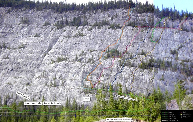 McGillivray Slabs route topo in progress. Randomly stumbled across this on the net and looking for more info on these routes.