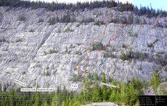 Rock Climbing Photo: McGillivray Slabs route topo in progress. Randomly...
