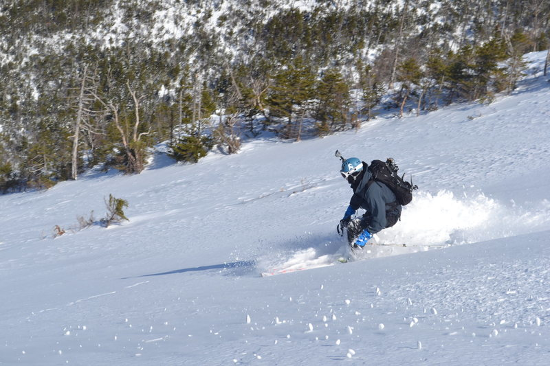 Skiing down into the Trap Dike in the ADKs.