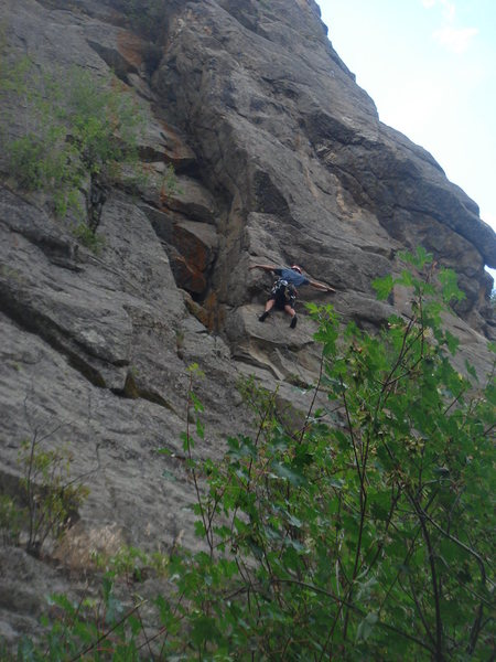 Cory taking on the crux, as I assume it was intended to be climbed.