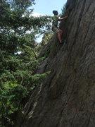 Rock Climbing Photo: Greg K. hitting the crux of Tree Line.