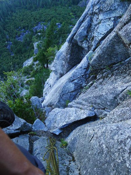 Rock Climbing Photo: looking down P1