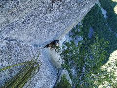 Rock Climbing Photo: top of P3 (Wilson Overhang pitch)
