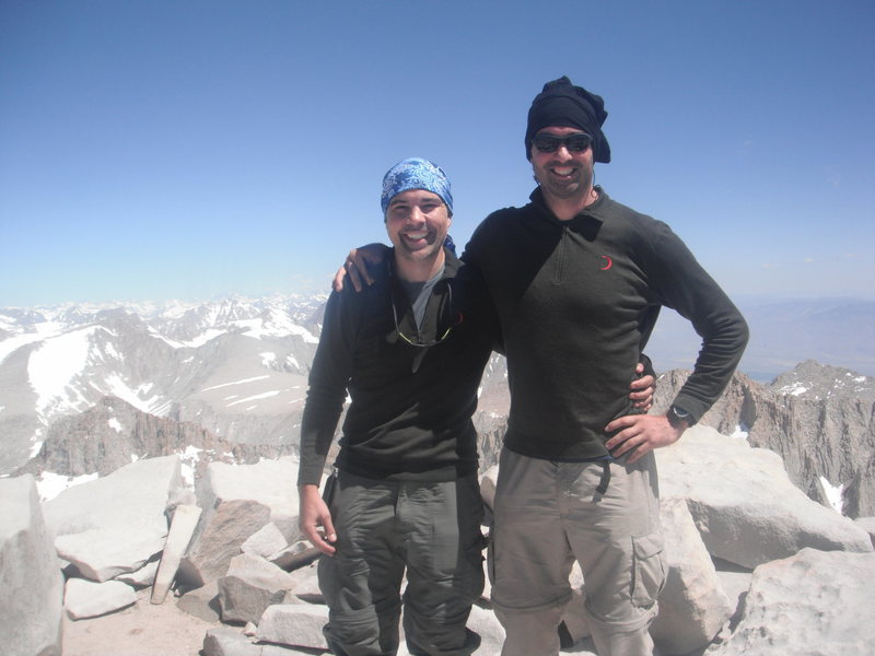 Mt. Whitney Summit with my bro.  I stood on the taller rock, lol.