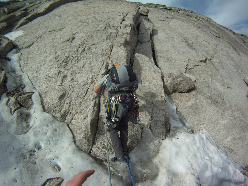 2nd pitch up the Cable Route on July 3, 2012. Practically no snow but this spot. Lots of water on the rock, though.