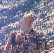 Rock Climbing Photo: The Doodad-30 foot summit block. Overhanging on al...
