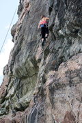 Rock Climbing Photo: Barb just about to make the balancy reach to the l...