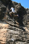 Rock Climbing Photo: Dean Huwe at the upper crux during FA.