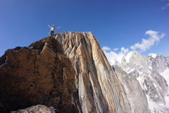 Rock Climbing Photo: On the summit with the Wisdom Tooth in the backgro...