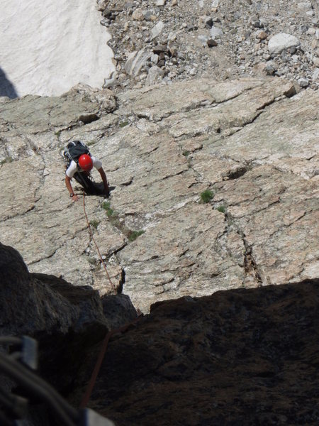 The low angle slab on pitch two before the 5.8 jam crack to the belay