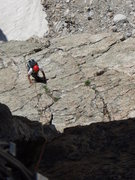 Rock Climbing Photo: The low angle slab on pitch two before the 5.8 jam...