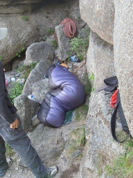 Rock Climbing Photo: bivy ledge on first night of Nadeurigil.