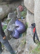 Rock Climbing Photo: bivy ledge on first night of Nadeurigil.
