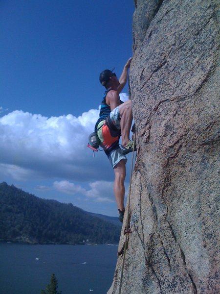 Rock Climbing Photo: Rick leading Crappie Corner