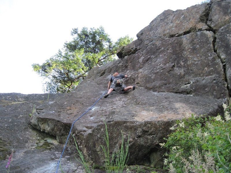 Rock Climbing Photo: Leading DT Route. Third bolt is at shin level. Bol...
